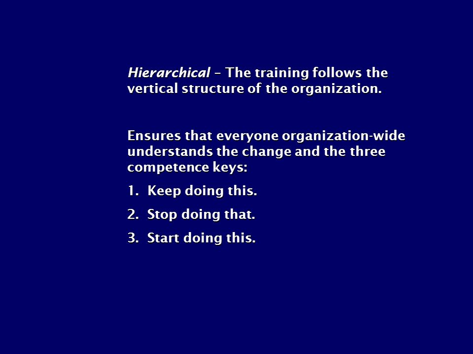 Hierarchical – The training follows the vertical structure of the organization. Ensures that everyone organization-wide understands the change and the