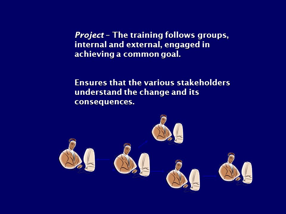 Project – The training follows groups, internal and external, engaged in achieving a common goal. Ensures that the various stakeholders understand the