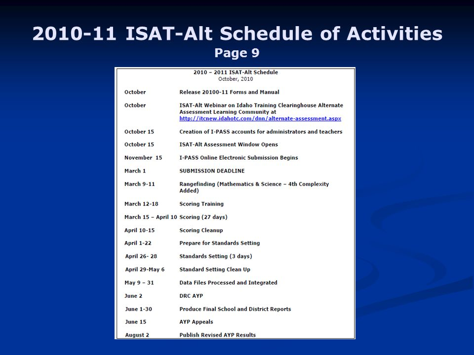 ISAT-Alt Schedule of Activities Page 9