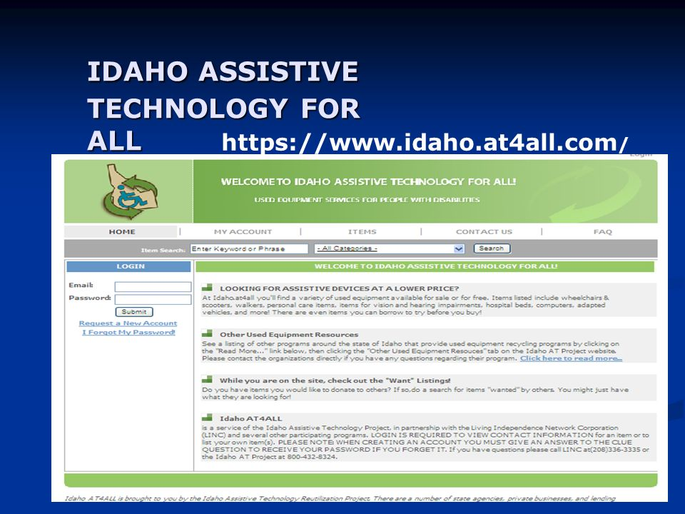 IDAHO ASSISTIVE TECHNOLOGY FOR ALL   /