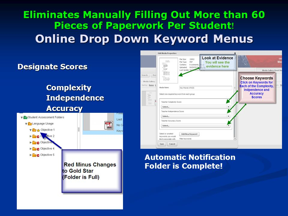Eliminates Manually Filling Out More than 60 Pieces of Paperwork Per Student .
