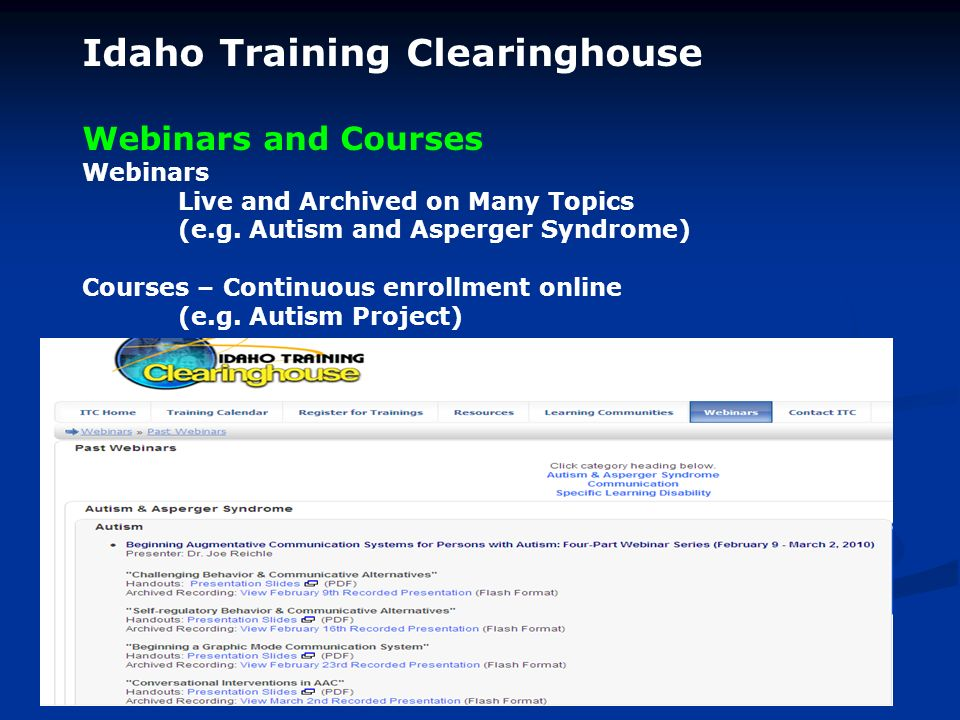 Idaho Training Clearinghouse Webinars and Courses Webinars Live and Archived on Many Topics (e.g.