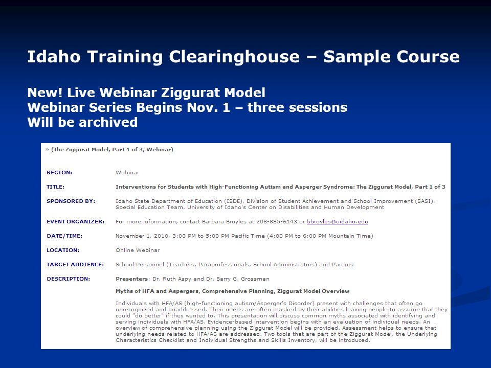 Idaho Training Clearinghouse – Sample Course New.
