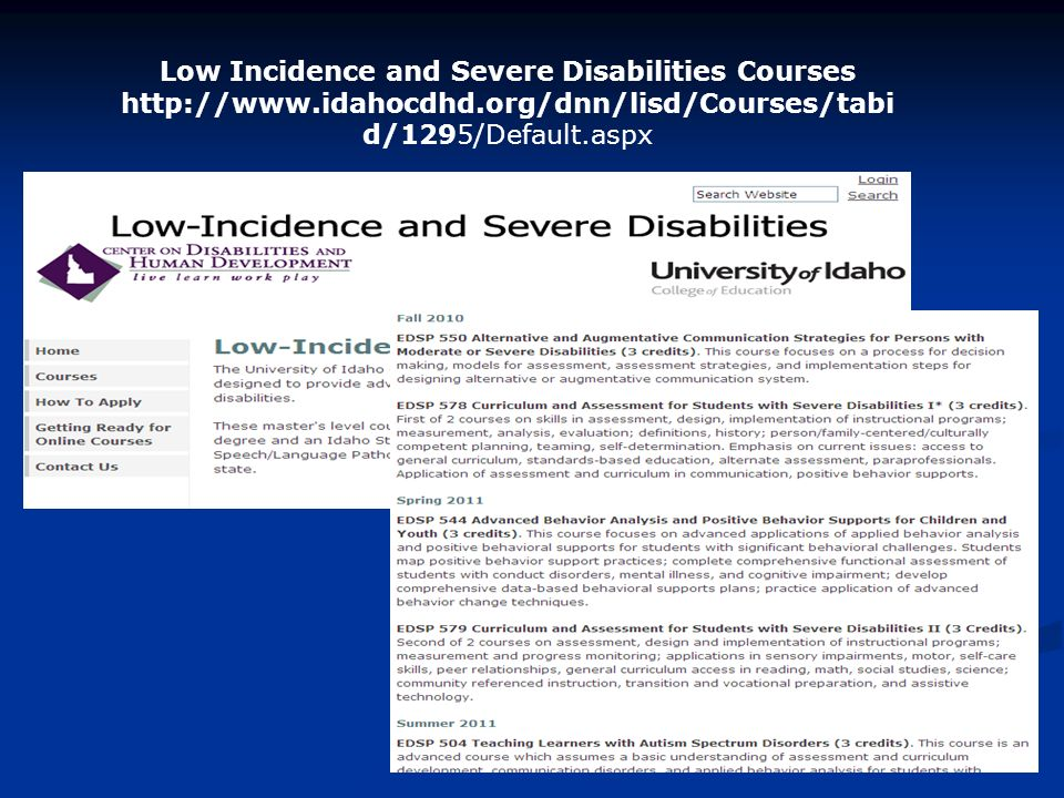 Low Incidence and Severe Disabilities Courses   d/1295/Default.aspx
