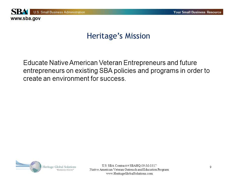 U.S SBA Contract # SBAHQ-09-M-0317 Native American Veteran Outreach and Education Program www.HeritageGlobalSolutions.com 30 Public Sector Assistance Part II VA – www.VetBiz.govwww.VetBiz.gov