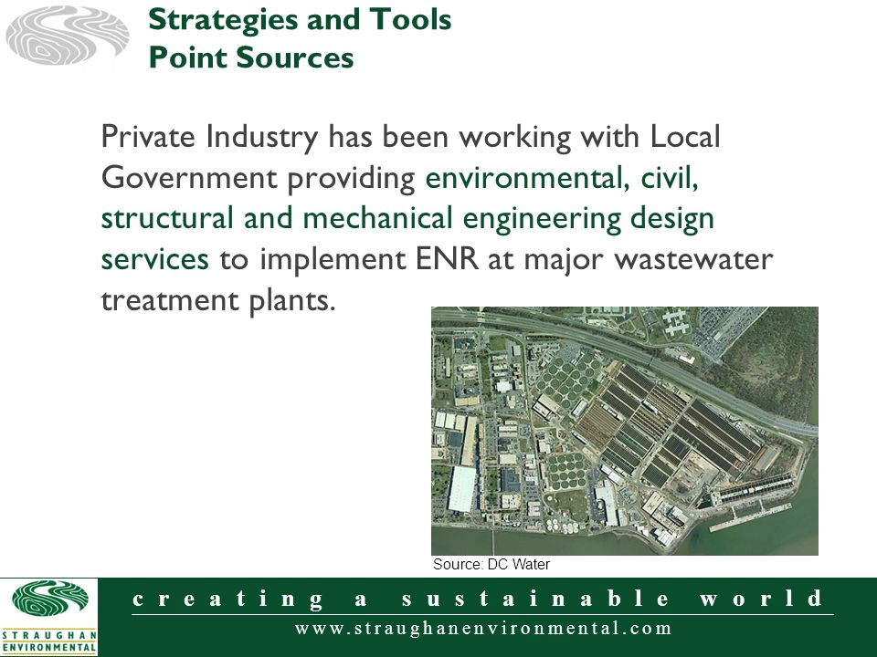 www.straughanenvironmental.com creating a sustainable world Private Industry has been working with Local Government providing environmental, civil, structural and mechanical engineering design services to implement ENR at major wastewater treatment plants.