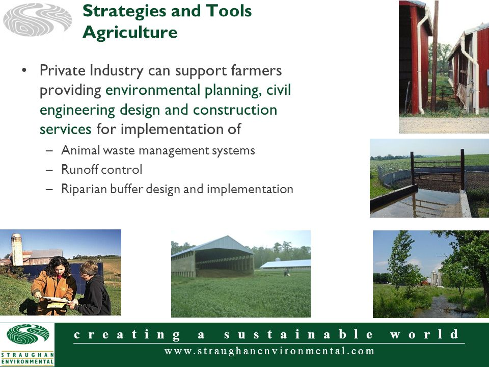 www.straughanenvironmental.com creating a sustainable world Private Industry can support farmers providing environmental planning, civil engineering design and construction services for implementation of –Animal waste management systems –Runoff control –Riparian buffer design and implementation Strategies and Tools Agriculture