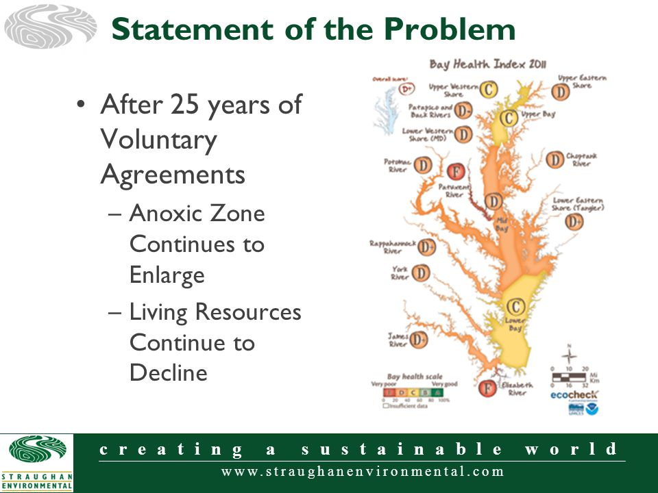 www.straughanenvironmental.com creating a sustainable world After 25 years of Voluntary Agreements –Anoxic Zone Continues to Enlarge –Living Resources Continue to Decline Statement of the Problem