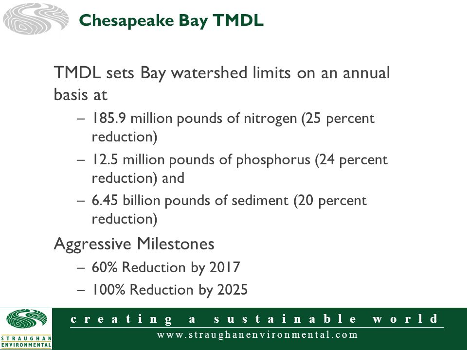 www.straughanenvironmental.com creating a sustainable world TMDL sets Bay watershed limits on an annual basis at –185.9 million pounds of nitrogen (25 percent reduction) –12.5 million pounds of phosphorus (24 percent reduction) and –6.45 billion pounds of sediment (20 percent reduction) Aggressive Milestones –60% Reduction by 2017 –100% Reduction by 2025 Chesapeake Bay TMDL