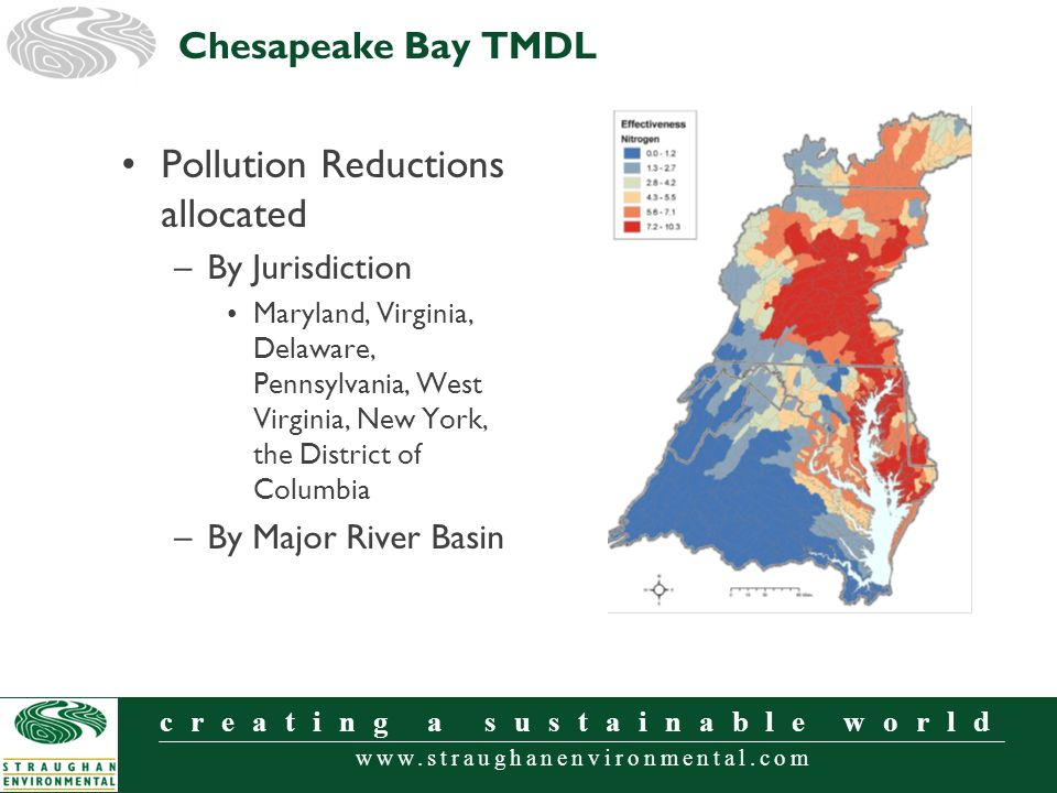 www.straughanenvironmental.com creating a sustainable world Pollution Reductions allocated –By Jurisdiction Maryland, Virginia, Delaware, Pennsylvania, West Virginia, New York, the District of Columbia –By Major River Basin Chesapeake Bay TMDL