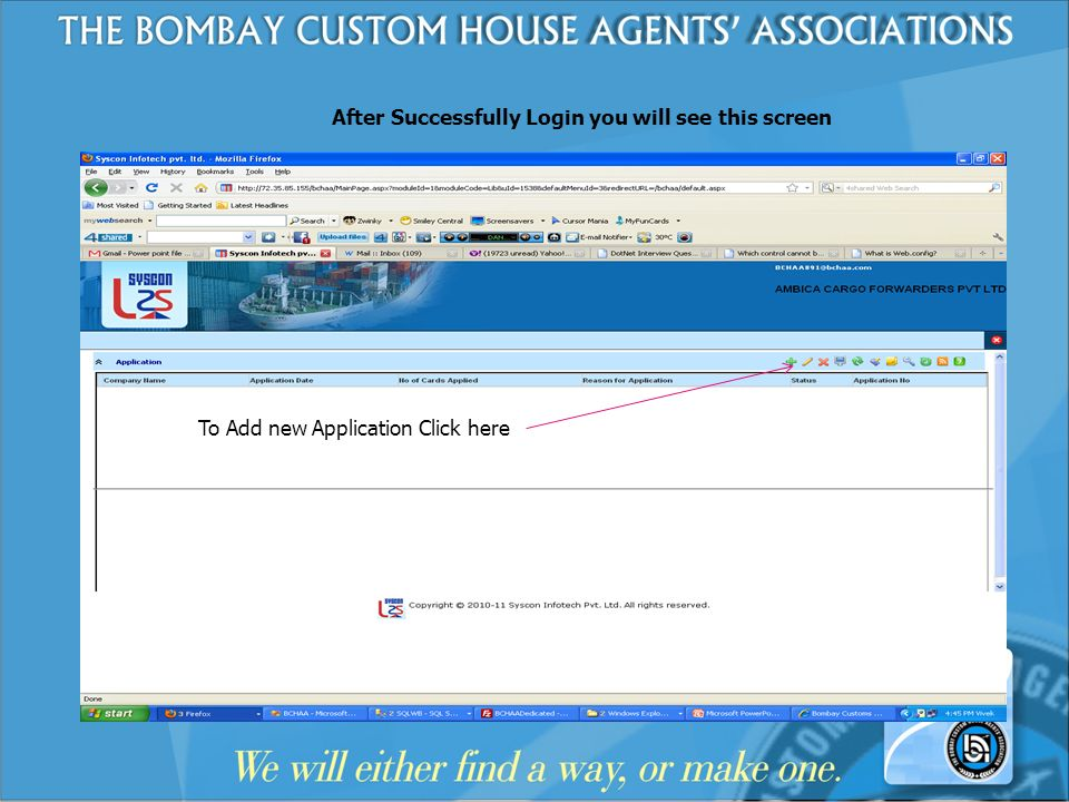 After Successfully Login you will see this screen To Add new Application Click here