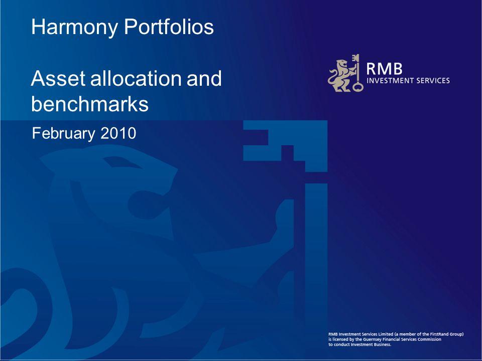 Harmony Portfolios Asset allocation and benchmarks February 2010