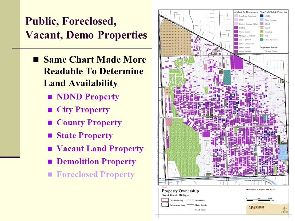 18 Public, Foreclosed, Vacant, Demo Properties Same Chart Made More Readable To Determine Land Availability NDND Property City Property County Property State Property Vacant Land Property Demolition Property Foreclosed Property