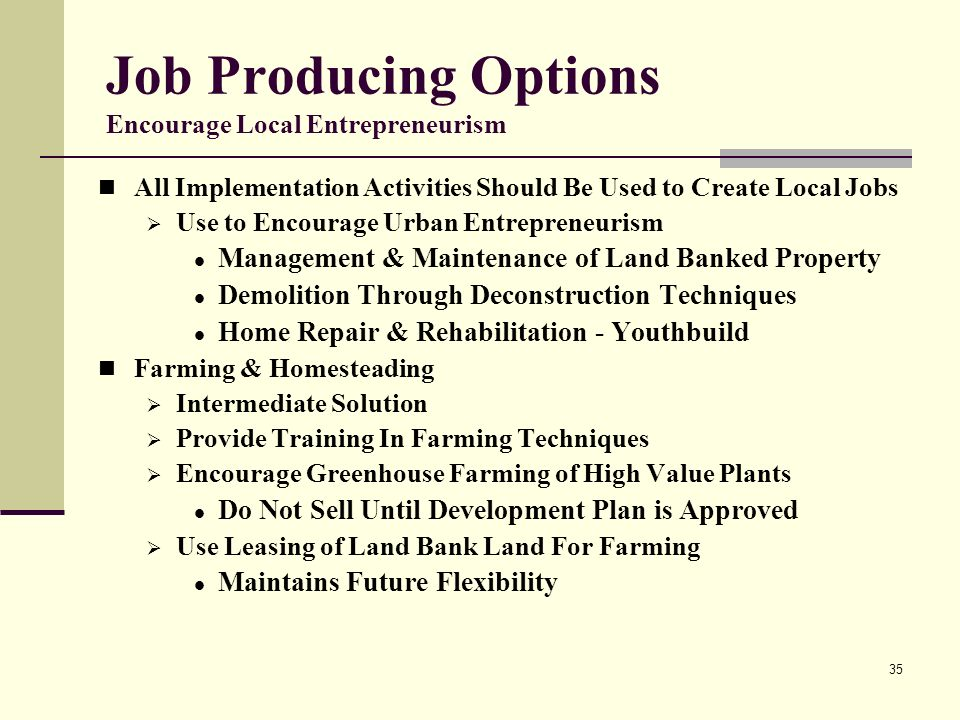 35 Job Producing Options Encourage Local Entrepreneurism All Implementation Activities Should Be Used to Create Local Jobs Use to Encourage Urban Entrepreneurism Management & Maintenance of Land Banked Property Demolition Through Deconstruction Techniques Home Repair & Rehabilitation - Youthbuild Farming & Homesteading Intermediate Solution Provide Training In Farming Techniques Encourage Greenhouse Farming of High Value Plants Do Not Sell Until Development Plan is Approved Use Leasing of Land Bank Land For Farming Maintains Future Flexibility