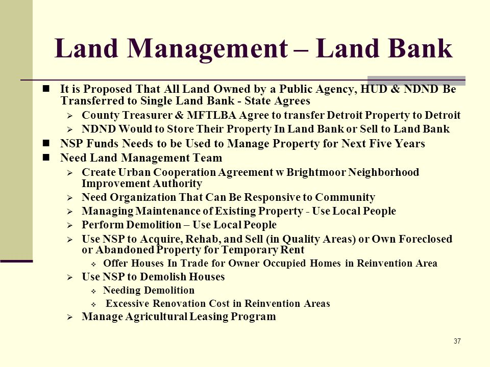 37 Land Management – Land Bank It is Proposed That All Land Owned by a Public Agency, HUD & NDND Be Transferred to Single Land Bank - State Agrees County Treasurer & MFTLBA Agree to transfer Detroit Property to Detroit NDND Would to Store Their Property In Land Bank or Sell to Land Bank NSP Funds Needs to be Used to Manage Property for Next Five Years Need Land Management Team Create Urban Cooperation Agreement w Brightmoor Neighborhood Improvement Authority Need Organization That Can Be Responsive to Community Managing Maintenance of Existing Property - Use Local People Perform Demolition – Use Local People Use NSP to Acquire, Rehab, and Sell (in Quality Areas) or Own Foreclosed or Abandoned Property for Temporary Rent Offer Houses In Trade for Owner Occupied Homes in Reinvention Area Use NSP to Demolish Houses Needing Demolition Excessive Renovation Cost in Reinvention Areas Manage Agricultural Leasing Program