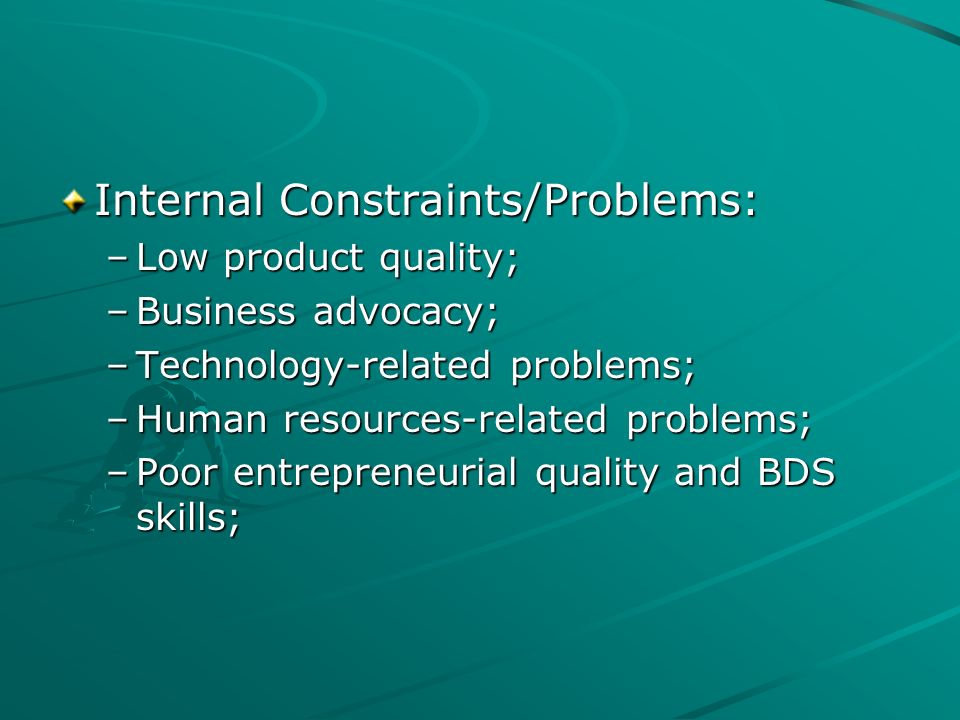 Internal Constraints/Problems: –Low product quality; –Business advocacy; –Technology-related problems; –Human resources-related problems; –Poor entrep