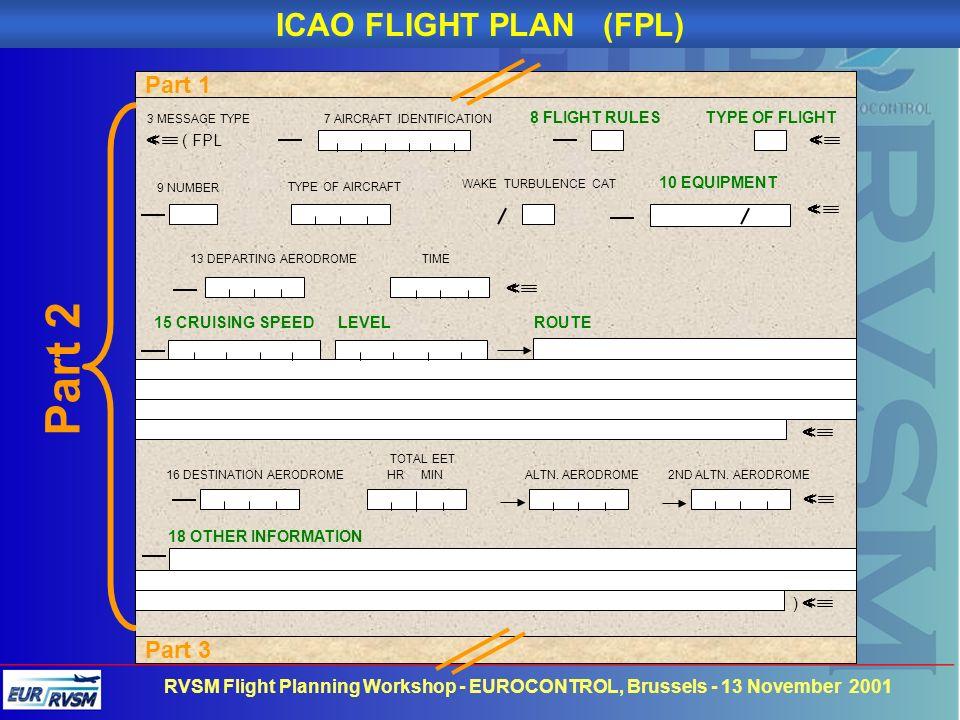 RVSM Flight Planning Workshop - EUROCONTROL, Brussels - 13 November 2001 Part 3 ( FPL 9 NUMBER TYPE OF AIRCRAFT WAKE TURBULENCE CAT 10 EQUIPMENT 13 DE