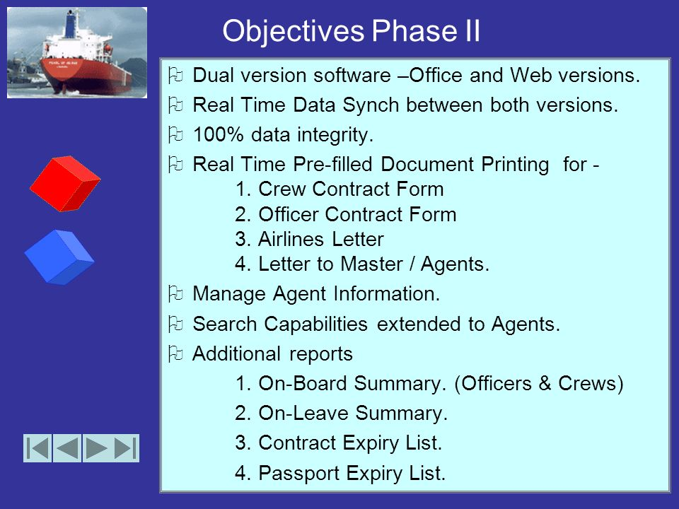 Objectives Phase I Simple storage and retrieval of crew data. Elimination of paperwork. Quick Access to information. Storage of detailed information a
