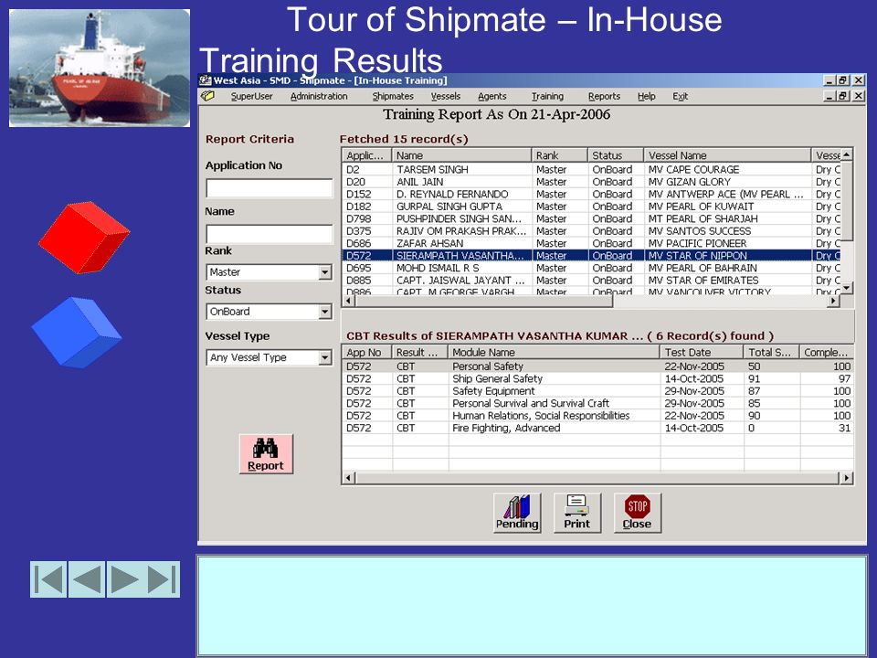 Tour of Shipmate – In-House Training Results (Print Preview)