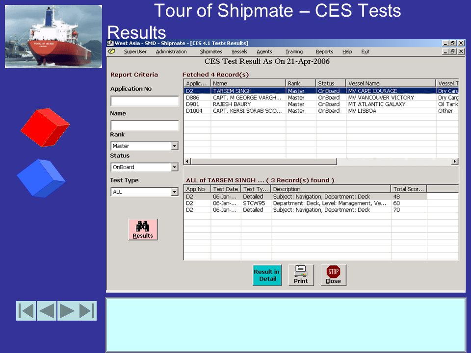 Tour of Shipmate – CES Tests Results (options)