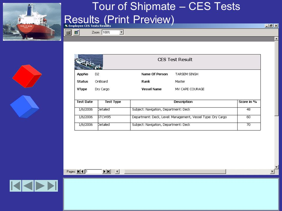 Tour of Shipmate – CES Tests Results