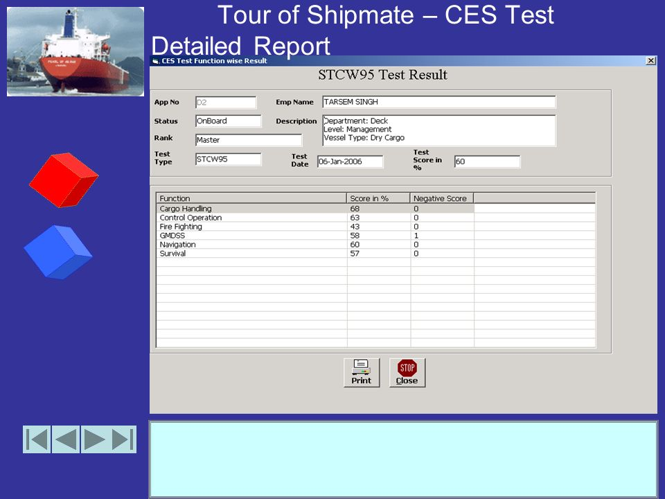 Tour of Shipmate – CES Tests Results (Print Preview)