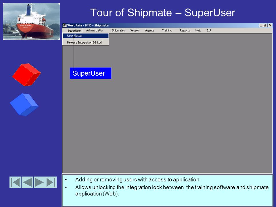Tour of Shipmate - Menus The shipmate application after the implementation of the first 3 phases has the above 8 main features with sub features acces