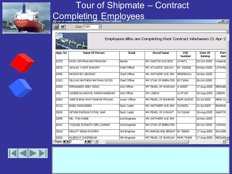 Tour of Shipmate – Contract Completing Employees (options)
