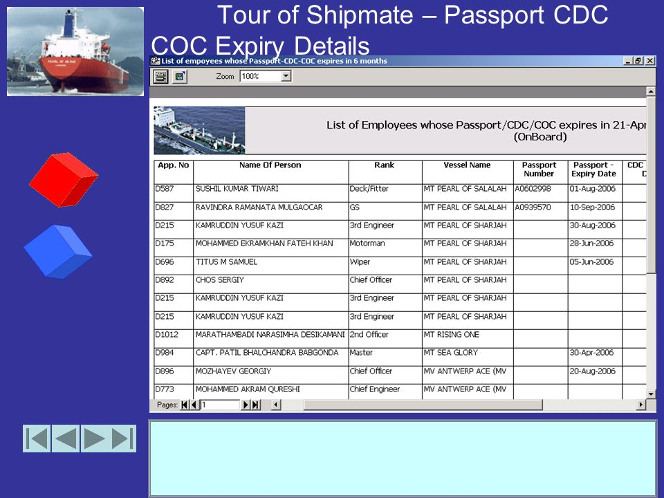 Tour of Shipmate – Passport CDC COC Expiry Details (options)