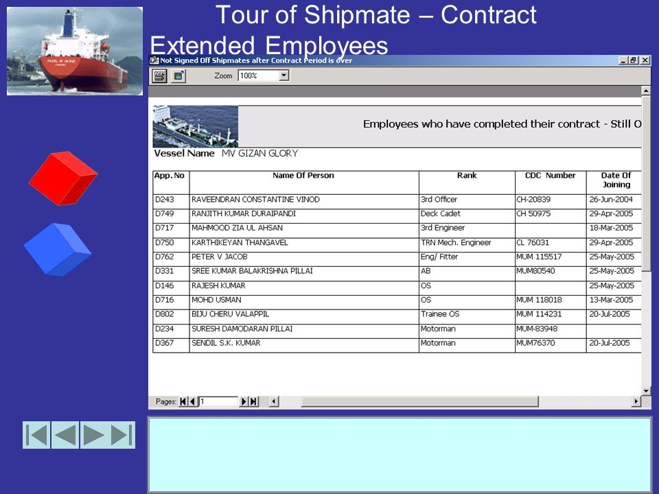 Tour of Shipmate – Contract Extended Employees (option)