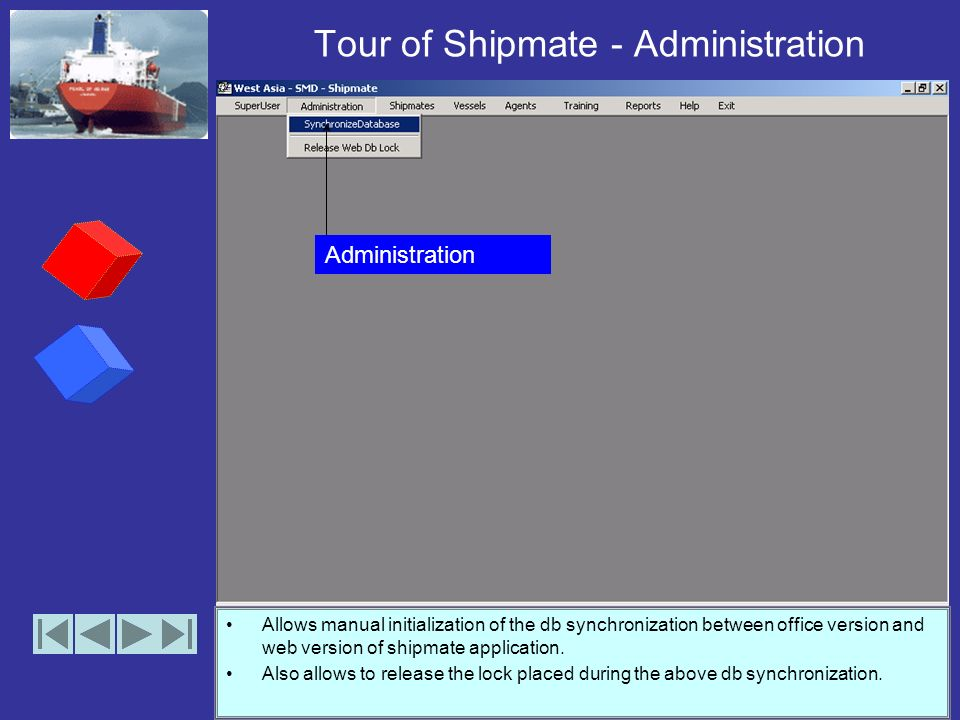 Tour of Shipmate – SuperUser Adding or removing users with access to application. Allows unlocking the integration lock between the training software