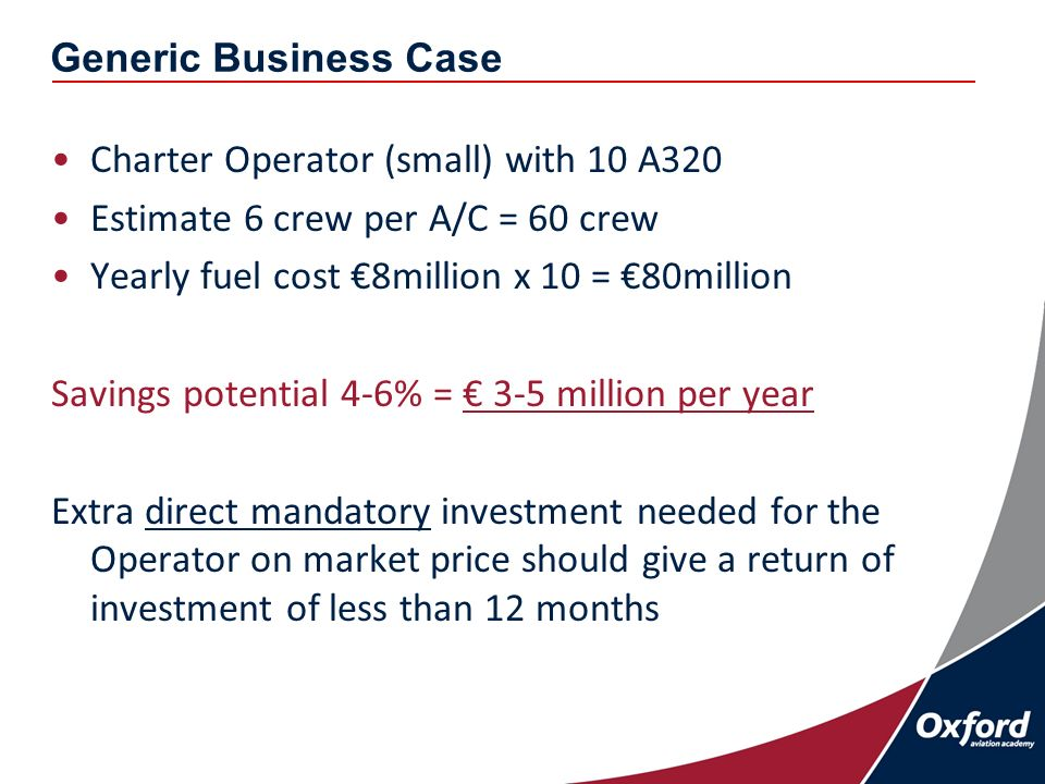 Generic Business Case Charter Operator (small) with 10 A320 Estimate 6 crew per A/C = 60 crew Yearly fuel cost 8million x 10 = 80million Savings potential 4-6% = 3-5 million per year Extra direct mandatory investment needed for the Operator on market price should give a return of investment of less than 12 months
