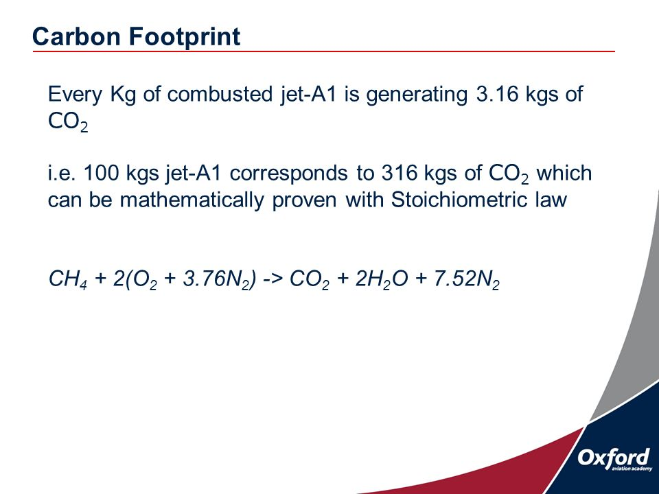 Every Kg of combusted jet-A1 is generating 3.16 kgs of CO 2 i.e.