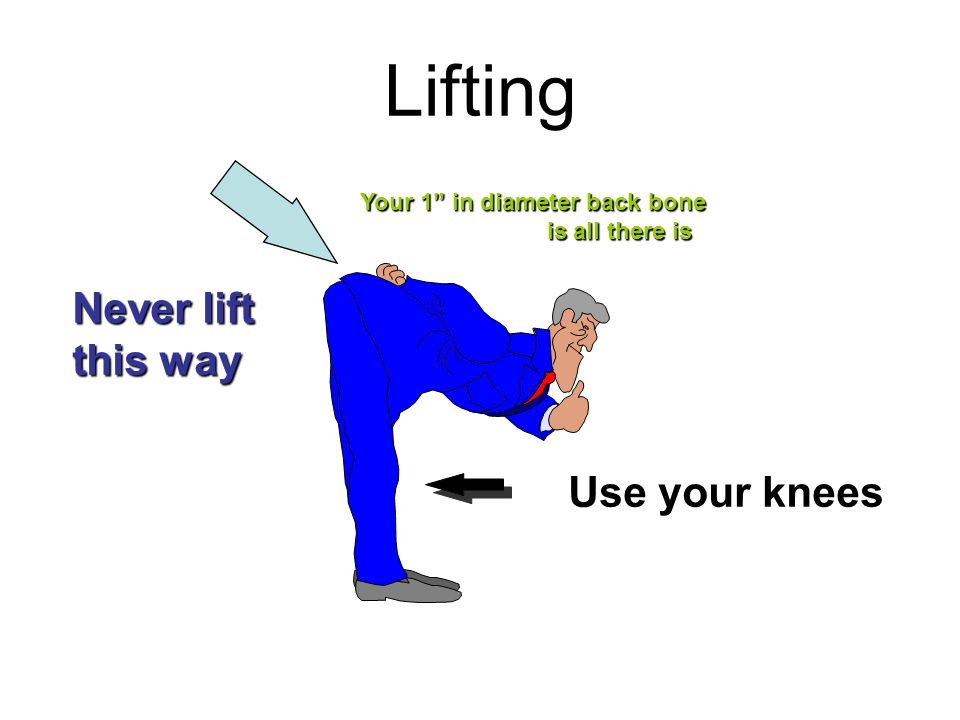 Lifting Never lift this way Use your knees Your 1 in diameter back bone is all there is is all there is