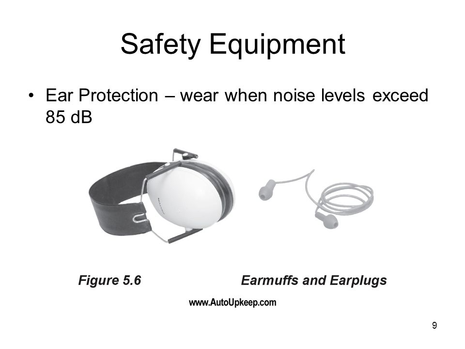 9 Safety Equipment Ear Protection – wear when noise levels exceed 85 dB