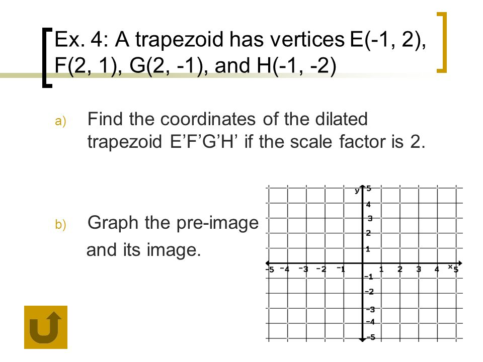 Ex. 4: A trapezoid has vertices E(-1, 2), F(2, 1), G(2, -1), and H(-1, -2) a) Find the coordinates of the dilated trapezoid EFGH if the scale factor i