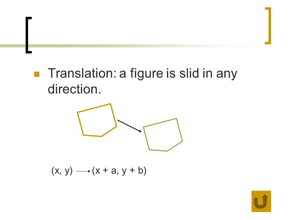Translation: a figure is slid in any direction. (x, y) (x + a, y + b)