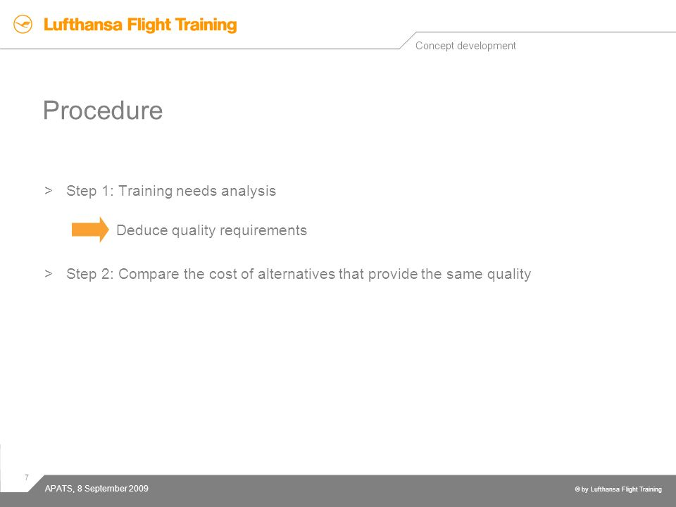 7 © by Lufthansa Flight Training APATS, 8 September 2009 Procedure >Step 1: Training needs analysis Deduce quality requirements >Step 2: Compare the c