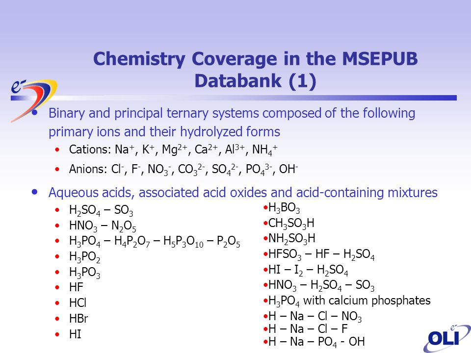 Chemistry Coverage in the MSEPUB Databank (1) Binary and principal ternary systems composed of the following primary ions and their hydrolyzed forms Cations: Na +, K +, Mg 2+, Ca 2+, Al 3+, NH 4 + Anions: Cl -, F -, NO 3 -, CO 3 2-, SO 4 2-, PO 4 3-, OH - Aqueous acids, associated acid oxides and acid-containing mixtures H 2 SO 4 – SO 3 HNO 3 – N 2 O 5 H 3 PO 4 – H 4 P 2 O 7 – H 5 P 3 O 10 – P 2 O 5 H 3 PO 2 H 3 PO 3 HF HCl HBr HI H 3 BO 3 CH 3 SO 3 H NH 2 SO 3 H HFSO 3 – HF – H 2 SO 4 HI – I 2 – H 2 SO 4 HNO 3 – H 2 SO 4 – SO 3 H 3 PO 4 with calcium phosphates H – Na – Cl – NO 3 H – Na – Cl – F H – Na – PO 4 - OH