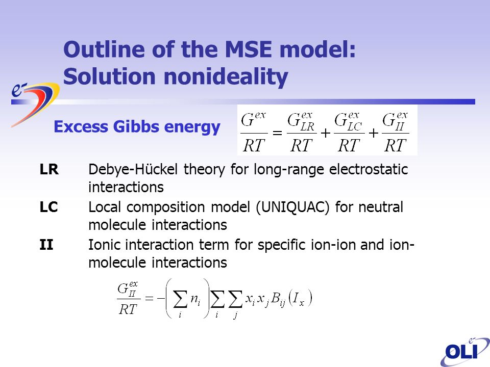 Outline of the MSE model: Solution nonideality LR Debye-Hückel theory for long-range electrostatic interactions LCLocal composition model (UNIQUAC) for neutral molecule interactions II Ionic interaction term for specific ion-ion and ion- molecule interactions Excess Gibbs energy