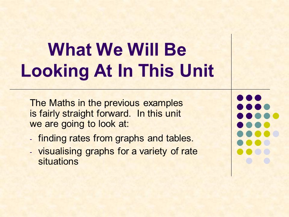 What We Will Be Looking At In This Unit The Maths in the previous examples is fairly straight forward.