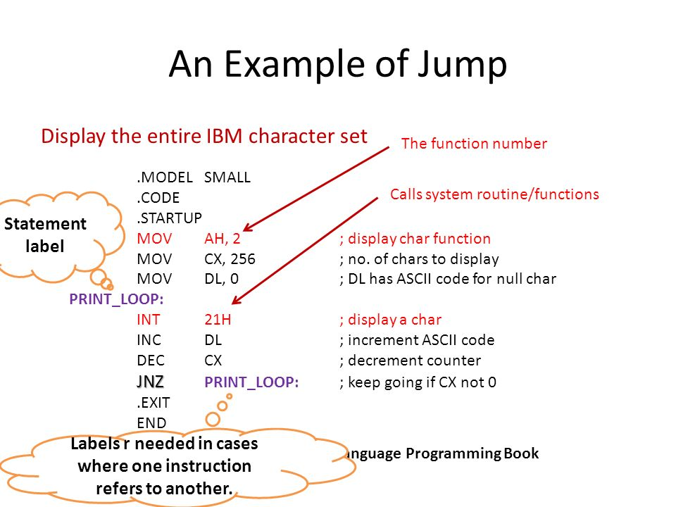 Conditional Jumps JNZ Syntax: Jxxxdestination_label True or False [no gray area – like our minds!] JNZ is an example of conditional jump instruction – Checks the Z flag.