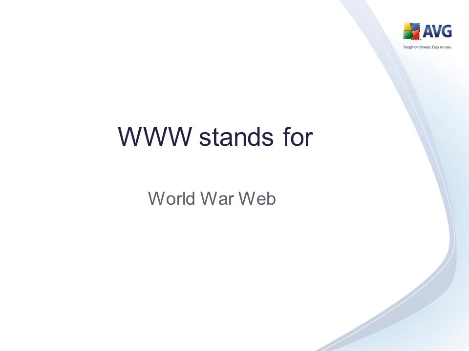 WWW stands for World War Web