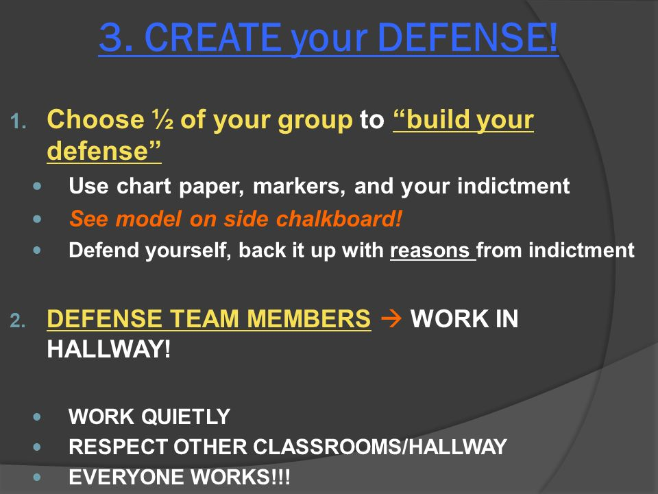 3. CREATE your DEFENSE. 1.