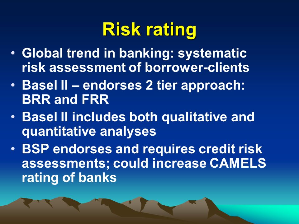 Risk rating Global trend in banking: systematic risk assessment of borrower-clients Basel II – endorses 2 tier approach: BRR and FRR Basel II includes