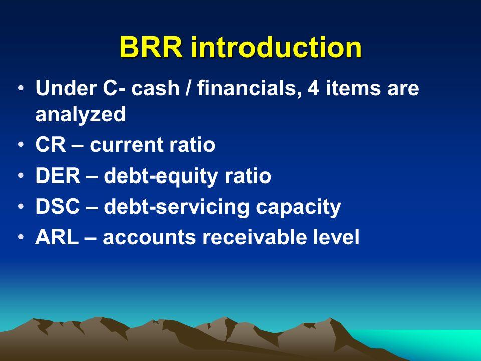 BRR introduction Under C- cash / financials, 4 items are analyzed CR – current ratio DER – debt-equity ratio DSC – debt-servicing capacity ARL – accou