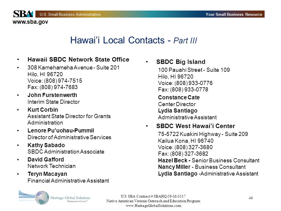 U.S SBA Contract # SBAHQ-09-M-0317 Native American Veteran Outreach and Education Program   49 Hawaii Local Contacts - Part III Hawaii SBDC Network State Office 308 Kamehameha Avenue - Suite 201 Hilo, HI Voice: (808) Fax: (808) John Furstenwerth Interim State Director Kurt Corbin Assistant State Director for Grants Administration Lenore Pu uohau-Pummil Director of Administrative Services Kathy Sabado SBDC Administration Associate David Gafford Network Technician Teryn Macayan Financial Administrative Assistant SBDC Big Island 100 Pauahi Street - Suite 109 Hilo, HI Voice: (808) Fax: (808) Constance Cate Center Director Lydia Santiago Administrative Assistant SBDC West Hawaii Center Kuakini Highway - Suite 209 Kailua Kona, HI Voice: (808) Fax: (808) Hazel Beck - Senior Business Consultant Nancy Miller - Business Consultant Lydia Santiago -Administrative Assistant