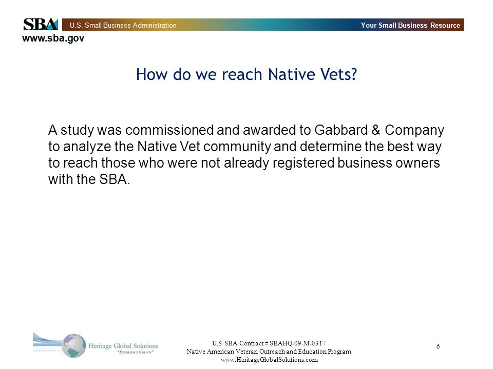 U.S SBA Contract # SBAHQ-09-M-0317 Native American Veteran Outreach and Education Program www.HeritageGlobalSolutions.com 27 Interagency Task Force on Veterans Small Business Development GOALS improving capital access - $30B approved for Small Businesses in September expanding mentor-protégé assistance increasing the integrity of certifications of status reducing paperwork and administrative burdens increasing and improving training and counseling