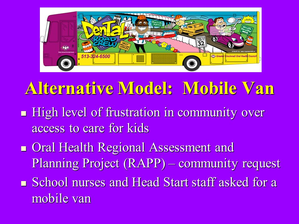 Alternative Model: Mobile Van High level of frustration in community over access to care for kids High level of frustration in community over access to care for kids Oral Health Regional Assessment and Planning Project (RAPP) – community request Oral Health Regional Assessment and Planning Project (RAPP) – community request School nurses and Head Start staff asked for a mobile van School nurses and Head Start staff asked for a mobile van