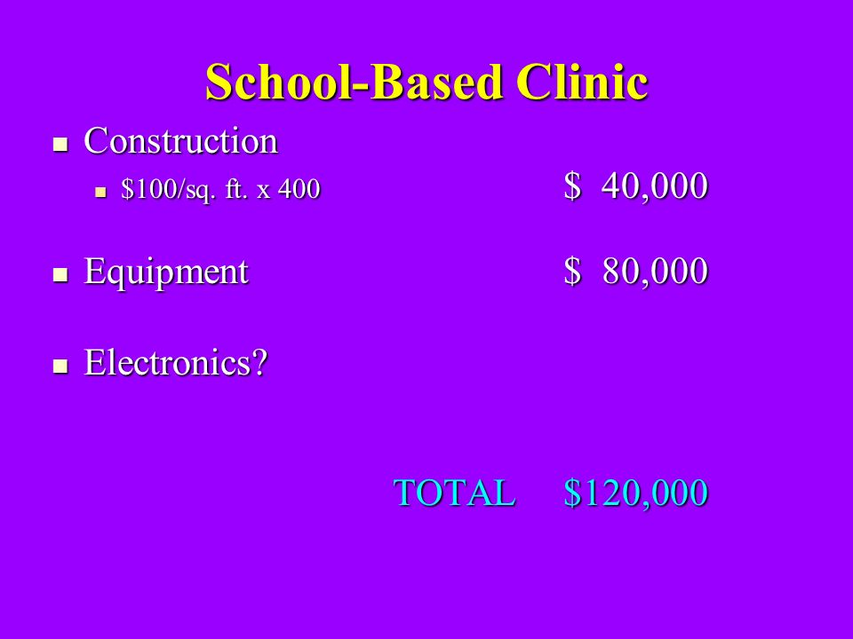 School-Based Clinic Construction Construction $100/sq.